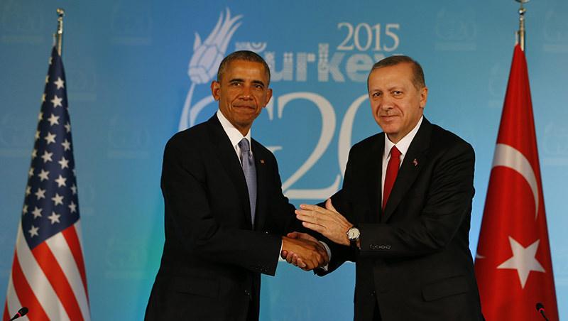 President Recep Tayyip Erdou011fan with U.S. President Barack Obama at the G20 Summit in Turkey's southern Antalya province (AA Photo)