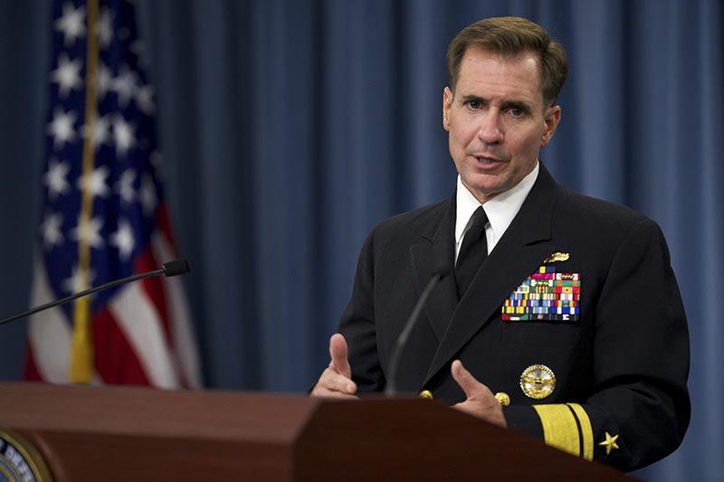 Pentagon Press Secretary Rear Adm. John Kirby conducts weekly press briefing at The Pentagon Washington, DC on August 5, 2014 (File Photo)