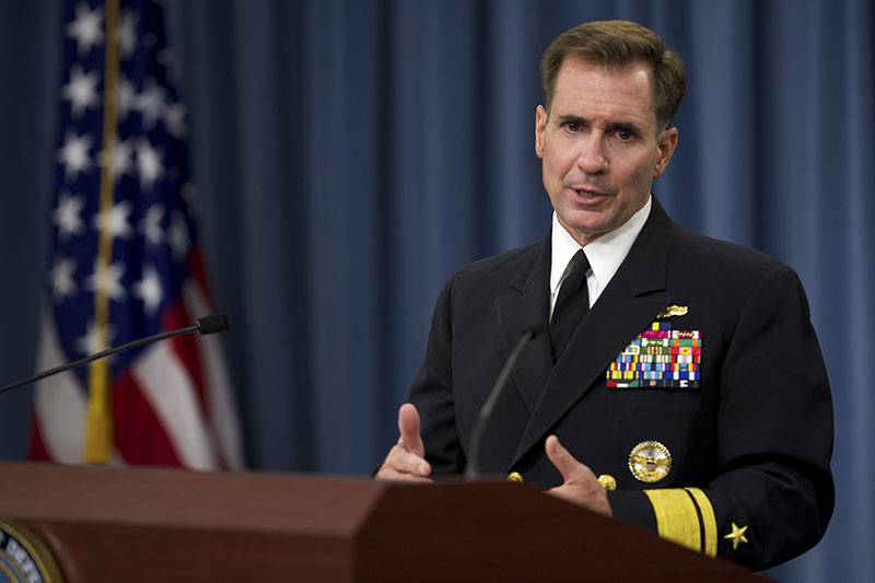 Pentagon Press Secretary Rear Adm. John Kirby conducts weekly press briefing at The Pentagon Washington, DC on August 5, 2014 (File Photo)