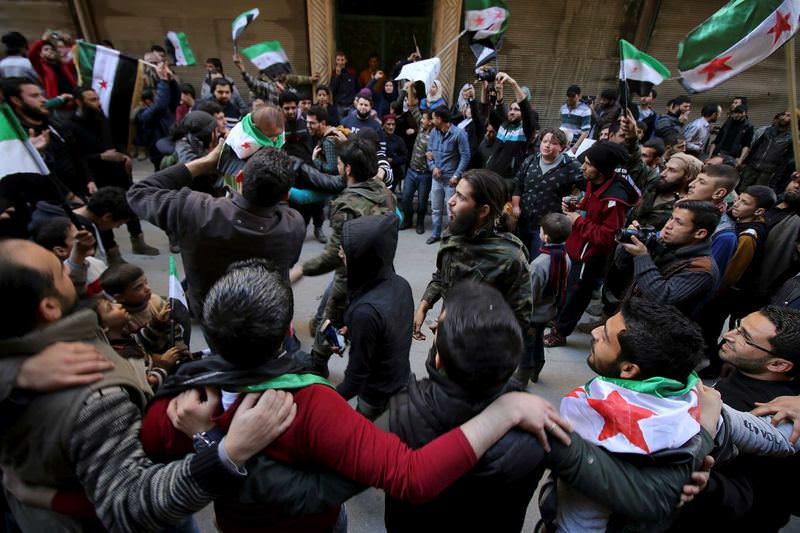 During the U.N.-brokered cease-fire Syrians organize peaceful anti-regime protests across the country.