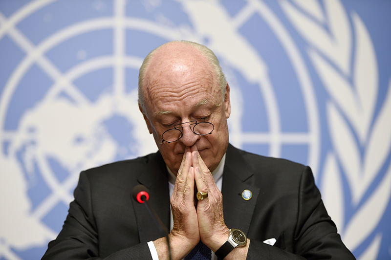 UN Syria envoy Staffan de Mistura attends a press conference on the first day of the second round of Syrian peace talks in Geneva on March 14, 2016. (AFP Photo)