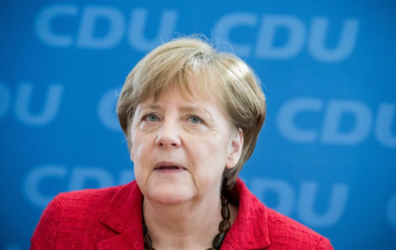 CDU chairwoman and German Chancellor Angela Merkel speaks at a meeting of the Federal Executive Committee of the CDU at Konrad-Adenauer Haus in Berlin, Germany on March 14.