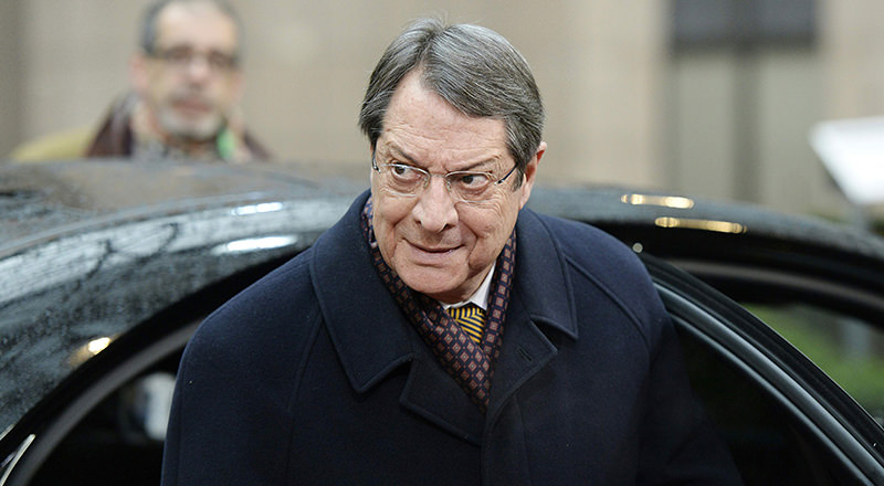 The President of Cyprus Nicos Anastasiades arrives for an EU leaders summit with Turkey on migrants crisis on March 7, 2016 at the European Council, in Brussels. (AFP Photo)