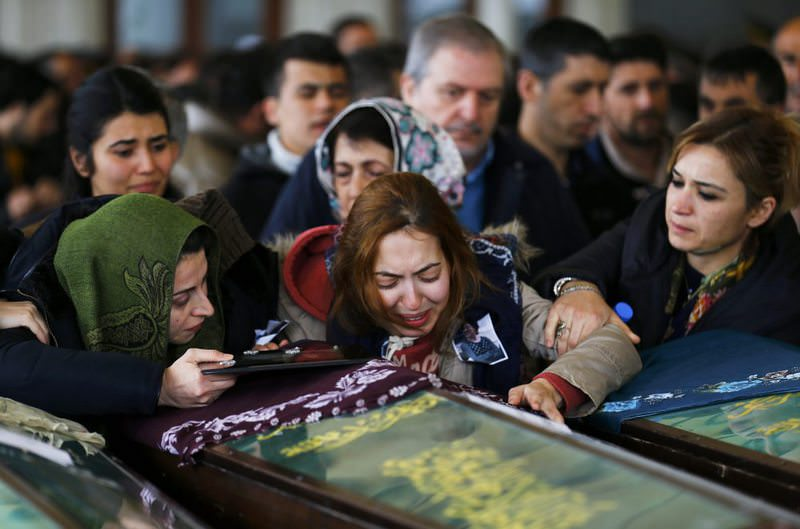 Family members of an Ankara bombing victim cry at a funeral ceremony at a mosque in Ankara on March 15, 2016. (Reuters Photo)