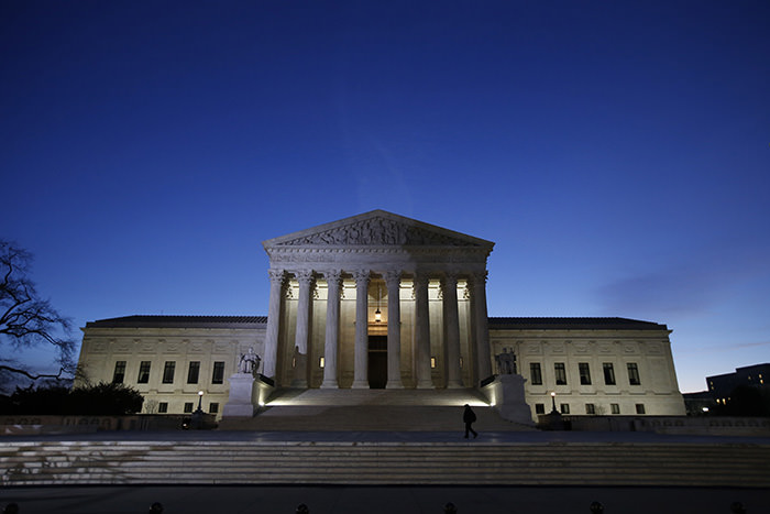 In this Feb. 19, 2016 photo, the front of the U.S. Supreme Court is seen in Washington. (AP Photo)