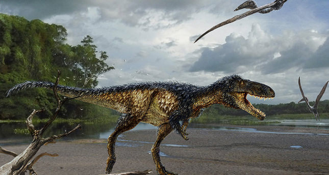 A life reconstruction of the new tyrannosaur Timurlengia euotica, accompanied by two flying reptiles (Azhdarcho longicollis) in their environment 90 million years ago, is pictured in this undated illustration released on March 14 (Reuters Photo)