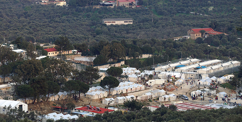 A picture shows a view of the Moria camp for migrants and refugees on the Greek island of Lesbos on March 20, 2016.  (AFP Photo)