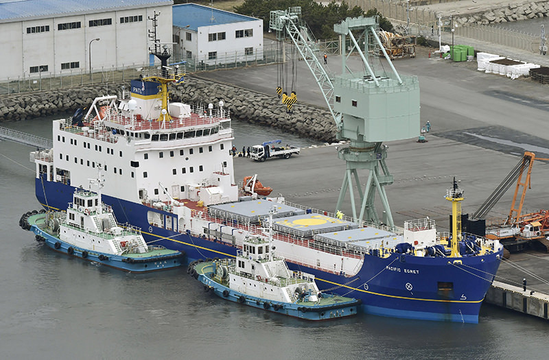 The Pacific Egret, one of the two British-flagged ships arrived in Japan, is anchored at a port in the village of Tokai, northeast of Tokyo, Monday morning, March 21, 2016. (AP Photo)