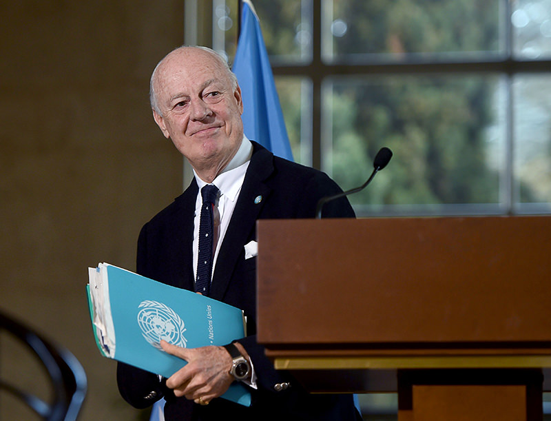 UN Syria envoy Staffan de Mistura leaves a press conference following a new round of negotiations of peace talks on Syria. (AFP Photo)