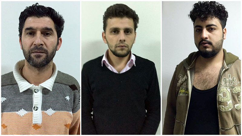 Daesh suspects Muhammet N., u0130brahim G.C.u015e. and Ali F were captured by Istanbul police during anti-terror raids. (IHA Photos)