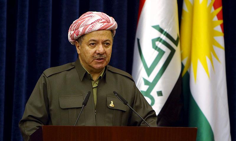 Iraqi Kurdistan region's President Massoud Barzani attends a news conference with Britain's Foreign Secretary Philip Hammond in Erbil, Iraq, March 17, 2016 (Reuters Photo)