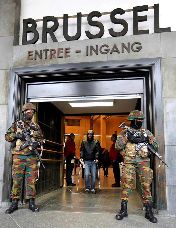 Soldiers control access to central train station in Brussels following Tuesday's bomb attacks.