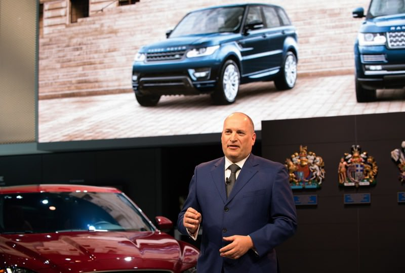 CEO of Jaguar Land Rover North America Joe Eberhardt introduces the Jaguar F-Type SVR and Jaguar F-Pace at the New York International Auto Show at the Javits Center in New York.