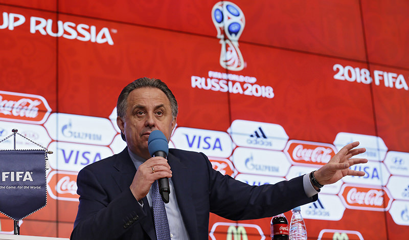 Chairman of the Russia 2018 LOC and Russia Sport Minister Vitaly Mutko makes a speech during the press conference of the 2018 FIFA World Cup Russia Local Organizing Committee (EPA Photo)