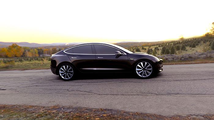 An undated handout photo made available by Tesla late 31 March 2016 shows the Tesla Model 3 electric car that was unveiled in Hawthorne, California, USA, 31 March 2016 (EPA Photo)