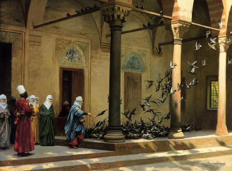 ,Women Feeding Pigeons, by French painter Jean-Leon Gerome.