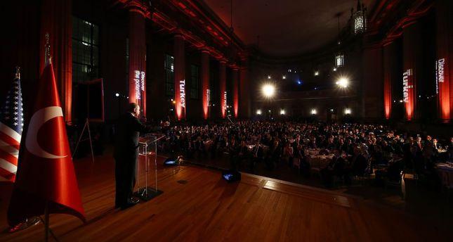 President Erdoğan addresses Turkish and American businesspeople in Washington.