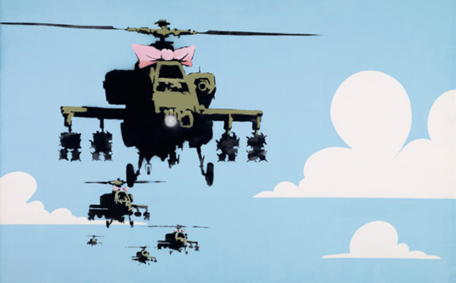 """Happy Choppers,"" a 2002 image of military helicopters with in a pink bow stenciled on a wall at London's Whitecross Street Market, is expected to go for up to $150,000."