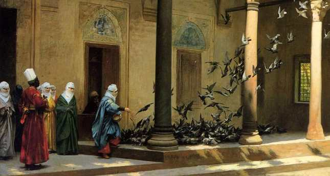 Women Feeding Pigeons by French painter Jean-Leon Gerome.