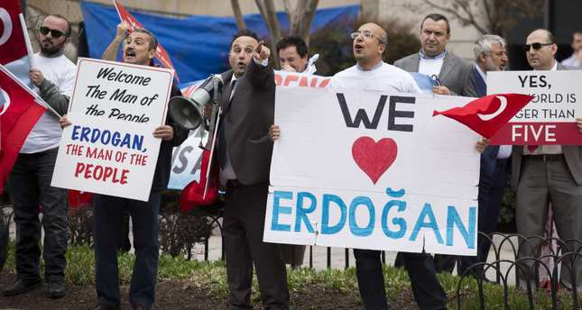 Supporters of President Erdoğan rally outside the Brookings Institution in Washington. (AFP Photo)