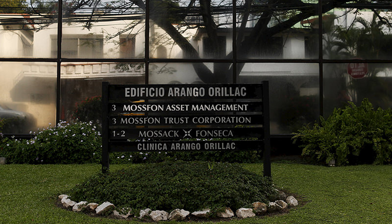 A company list showing the Mossack Fonseca law firm is pictured on a sign at the Arango Orillac Building in Panama City April 3, 2016.(Reuters Photo)