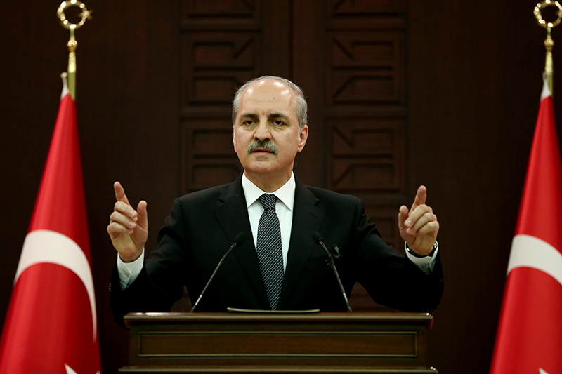 Deputy PM Kurtulmuu015f addressing a press conference following a Cabinet meeting chaired by Prime Minister Ahmet Davutou011flu. (AA Photo)