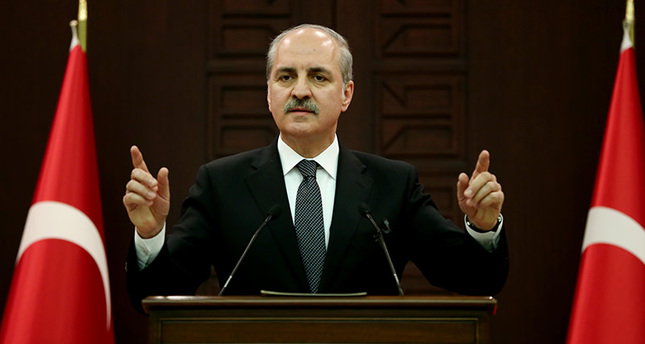 Deputy PM Kurtulmuş addressing a press conference following a Cabinet meeting chaired by Prime Minister Ahmet Davutoğlu. (AA Photo)