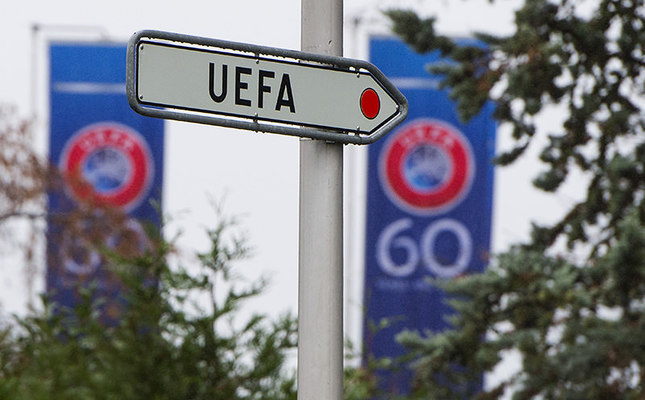 This Dec. 2, 2014 file photo shows UEFA sign pictured at the UEFA Headquarters in Nyon, Switzerland. (AP Photo)