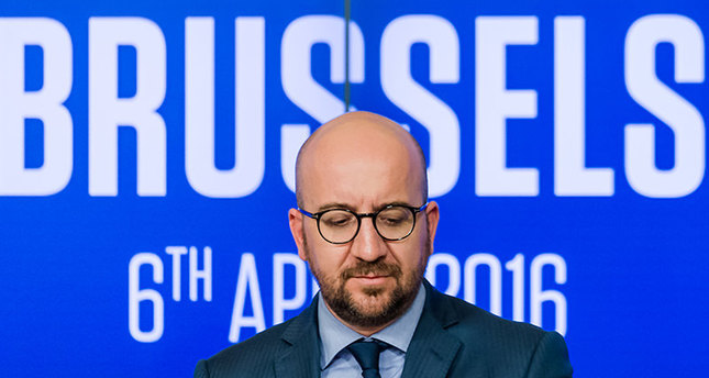 Belgium's Prime Minister Charles Michel addresses the media at the International Press Center in Brussels on Wednesday, April 6, 2016 AP Photo