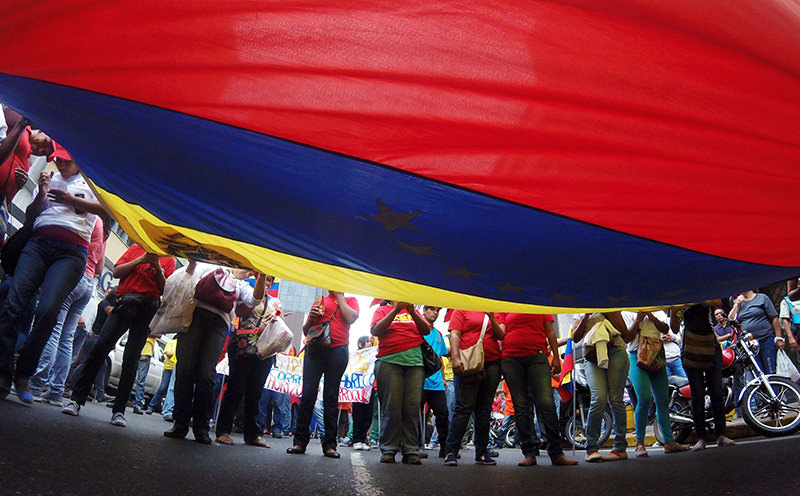 Supporters of Venezuelan president Nicolas Maduro marche during protest front in the Federal Legislative Palace in Caracas on April 6, 2016. (AFP Photo)