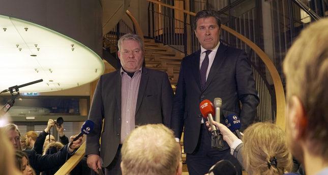 Iceland's Sigurdur Ingi Johannsson, left, attends a press conference at parliament in Reykjavik, Iceland Wednesday, April 6, 2016. (AP Photo)