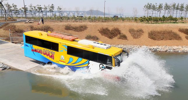 "An amphibious bus operates in Incheon, South Korea.  The ""amphibus"" will debut in Turkey in the near future."
