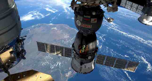 A NASA image shows the International Space Station as it flew over Madagascar, taken by the Expedition 47 Flight Engineer Tim Peake of ESA on April 6, 2016 and released on April 8, 2016.