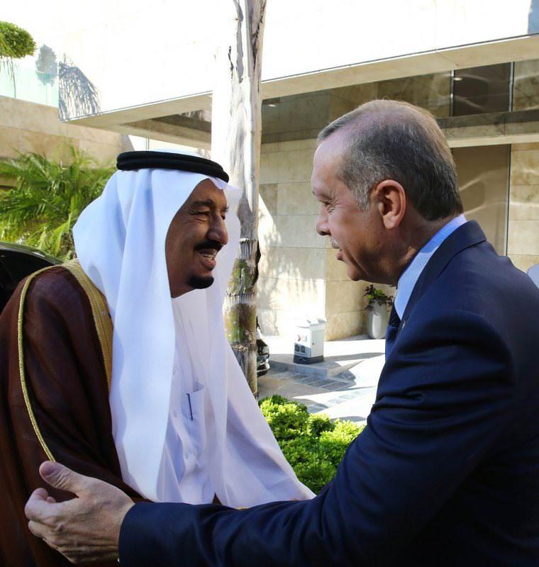 Saudi King Salman (L) meets with President Erdou011fan before the G20 Leaders Summit in Antalya on Nov. 14, 2015.