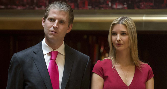 Eric, 32, and Ivanka, 34, Donald Trump's second and third children, have campaigned with their father, but both missed the deadline for registering as Republicans to vote in the New York primary. (Reuters Photo)