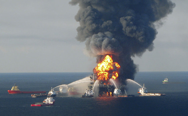 Fire boat response crews battle the blazing remnants of the off shore oil rig Deepwater Horizon, off Louisiana, in this handout photograph taken on April 21, 2010 and obtained on April 22. (Reuters Photo)