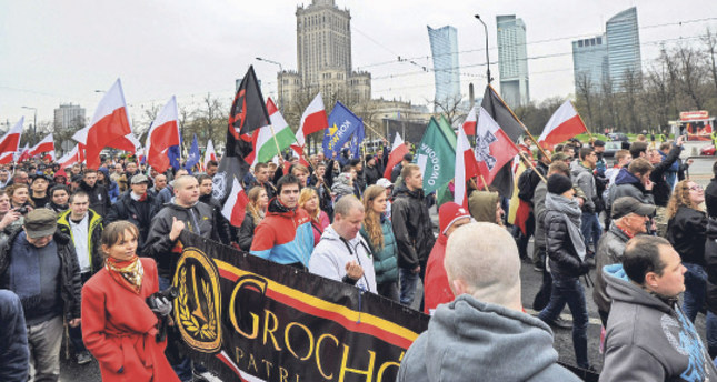 Protestors taking part in an anti-Islam rally 'Poles against Migrants' in Warsaw, Poland, 10 April 2016