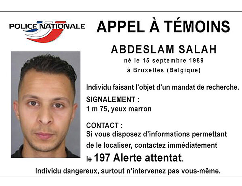 Handout file picture shows Belgian-born Salah Abdeslam on a call for witnesses notice released by the French Police. (REUTERS Photo)