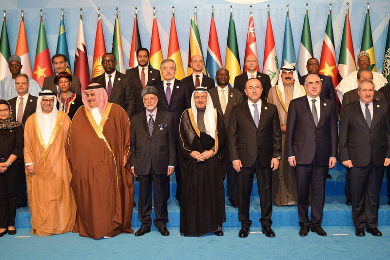 OIC Secretary General Madani (C) in the group photo at a council of foreign ministers meeting on Wednesday.