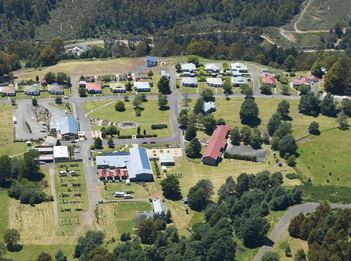 This undated handout photo from real estate company, Knight Frank Tasmania and recieved on April 14, 2016 shows an arial view of Tarraleah village in Tasmania (AFP Photo)