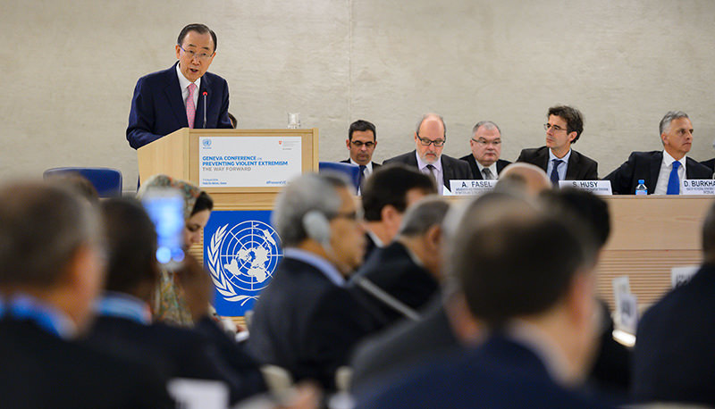 UN Secretary General Ban Ki-moon delivers a speech during a conference on preventing violent extremism around the world at the UN Offices in Geneva on April 8, 2016 (AFP Photo)