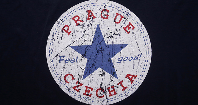 A sign with the word Czechia is printed on a t-shirt displayed in a store in Prague, Czech Republic, Thursday, April 14, 2016.