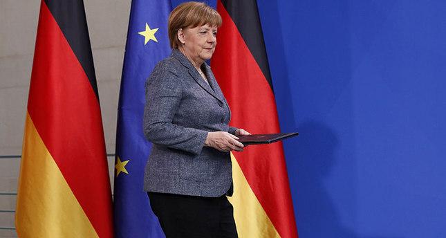 German Chancellor Angela Merkel arrives to give a statement on Turkey's request to seek prosecution of German comedian Jan Boehmermann (Reuters Photo)