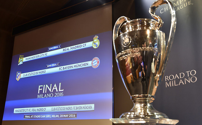 A screen displays the clubs that will be facing each other during the semi-final draw for the UEFA Champions League at the UEFA headquarters in Nyon on April 15, 2016. (AFP Photo)