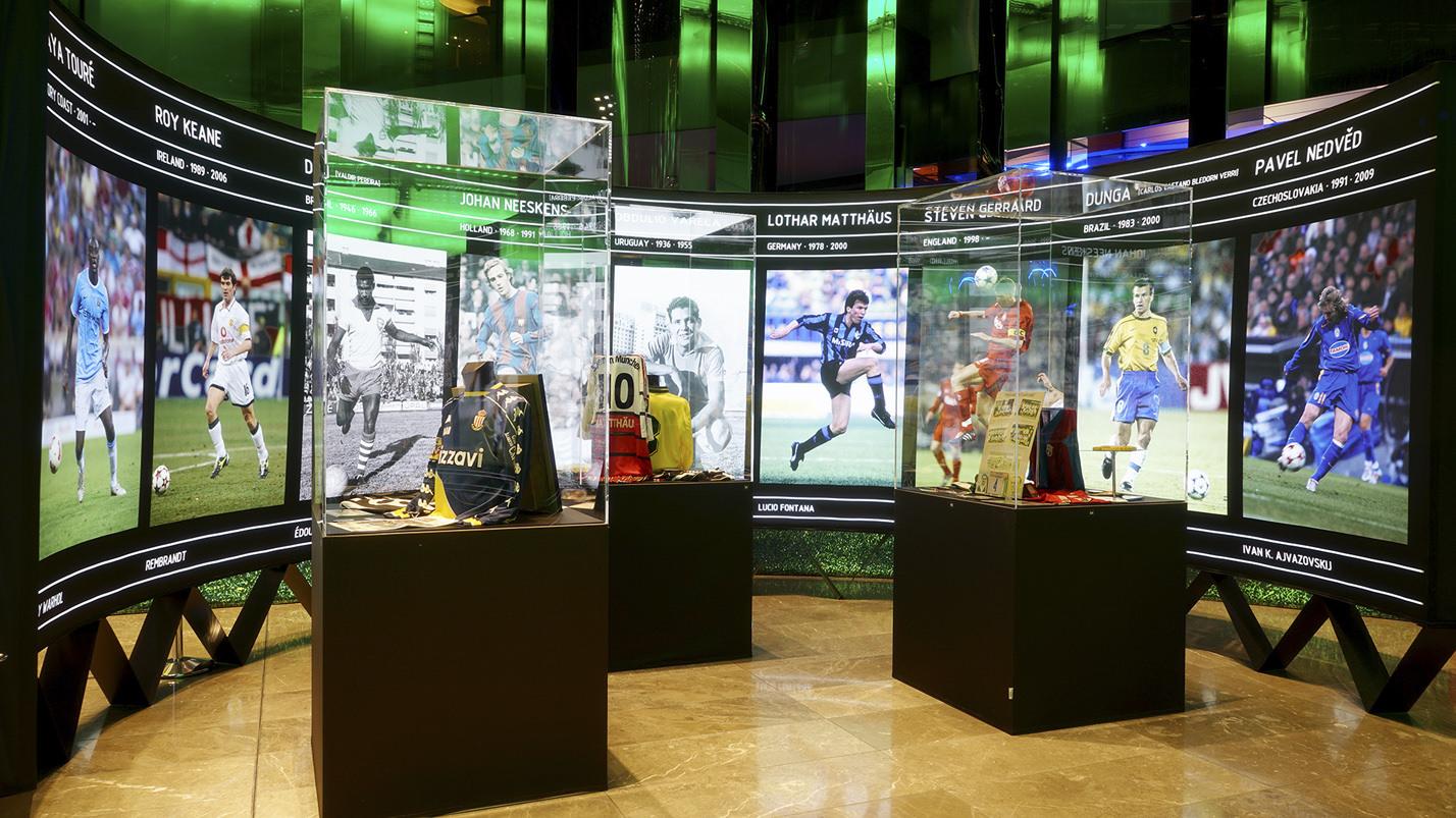 sports memorabilia original football items on display at