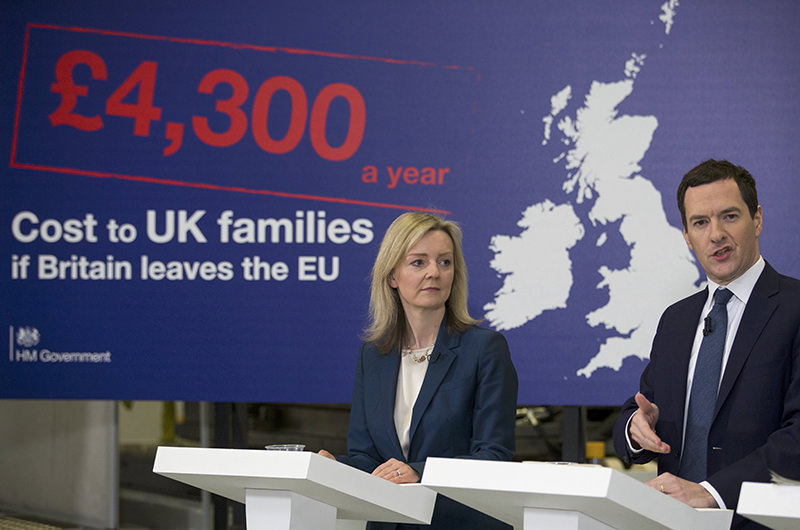 Britain's Chancellor of the Exchequer George Osborne speaks alongside Secretary of State for Environment, Food and Rural Affairs, Elizabeth Truss. (REUTERS Photo)