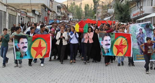 HDP deputy Tuba Hezer attends the funeral of a PKK terrorist in Başkale district of Van on Sept. 4, 2015.