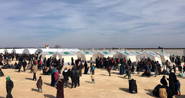 In this photo provided by Turkey's Islamic aid group of IHH, a temporary refugee camp for displaced Syrians in Azaz region, Syria, Thursday, Feb. 4, 2016. (AP Photo)