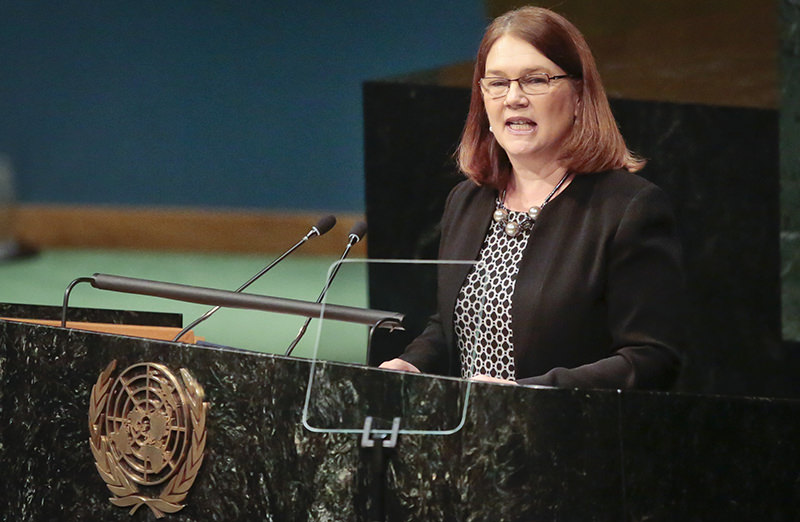Canada's Minister of Health Jane Philpott speaks, while addressing the United Nations special session on global drug policy, Wednesday April 20, 2016 at U.N. headquarters (AP Photo)