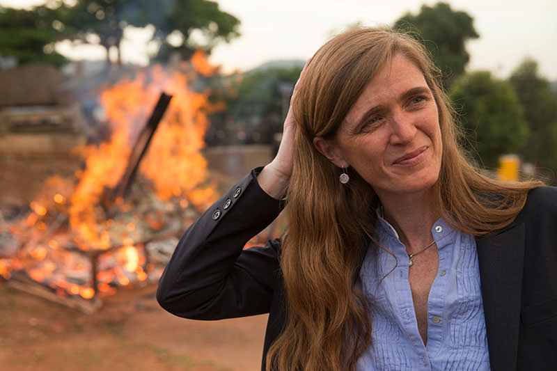 US Ambassador to the United Nations Samantha Power stands near the first Cameroon Ivory Burn at the Palais des Congres in Yaounde, Cameroon, April 19, 2016 (AP)